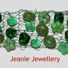 Green Knitted Bracelet with Wire and Czech Glass Beads