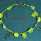 Lime Green Bracelet made in Crochet with Wire and Czech Glass Beads
