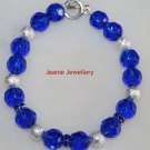 Blue Glass Bead Bracelet with Rhinestone