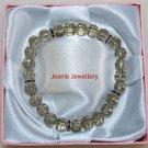 Grey Glass Bead Bracelet with Rhinestone