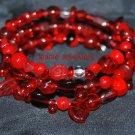Red Memory Wire Bracelet with Czech Glass Beads