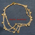 Gold Crochet Bracelet with Seed Beads