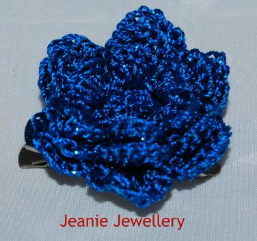 Blue Flower Brooch and Hair Clip