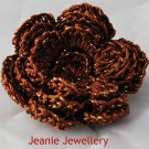 Brown Flower Brooch and Hair Clip
