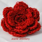 Red Flower Brooch and Hair Clip