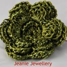 Olive Green Flower Brooch and Hair Clip