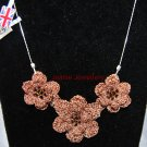 Brown Flower Necklace Made in Crochet
