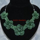 Green Flower Necklace Made in Crochet