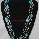 Blue Heart Necklace made with Glass Beads and Round Silver Plated Chain