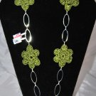Olive Green Flower Necklace Made in Crochet in a Oval Chain