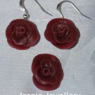 Set of Purple Rose (Biscuit) Pendant and Earrings