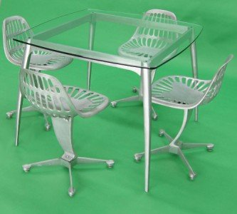 Mid Century Modern Industrial Dining Table 4 Chairs Eames era