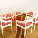 Set of Six Chairs by Vico Magistretti for Stendig with Marimekko Fabric Finland