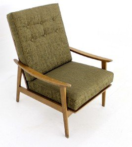 Danish Mid Century Modern High Back Lounge Arm Chair New Upholstery