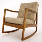 Danish Mid Century Modern Rocking Lounge Chair New Upholstery.