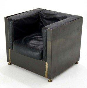 Mid Century Modern Metal Cube Custom Lounge Chair