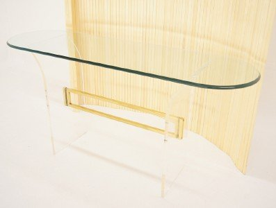 Mid Century Modern Lucite Brass Glass Console Sofa Table