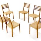 Set of 6 Danish Mid Century Modern Teak Chairs Clean