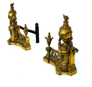 Pair of Antique Gilt Bronze Andirons Chenets Old.