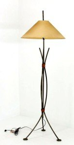 Wrought Iron and Copper Vintage c.1970's floor lamp