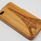 FreeShipping 10pcs/lot bamboo Case  For Iphone 4S / bamboo Iphone case (Eiffel Tower