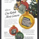 KODAK CINE MOVIE CAMERA Vintage Print Ad