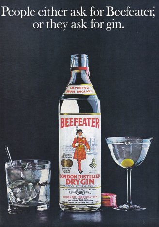 1974 BEEFEATER GIN Vintage Print Ad