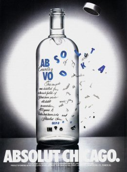 ABSOLUT CHICAGO 1990 Vodka Print Ad
