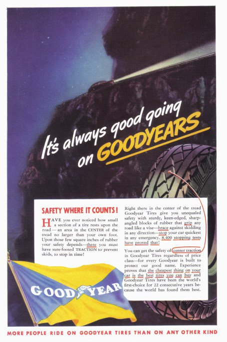 1937 GOODYEAR TIRES Vintage Print Ad