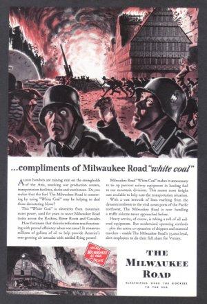 1943 MILWAUKEE ROAD Railways WWII Era Print Ad