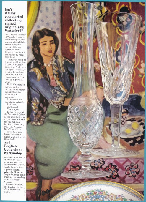 1975 WATERFORD CRYSTAL Vintage Print Ad