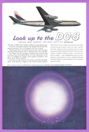1959 DOUGLAS DC-8 Aircraft Vintage Print Ad