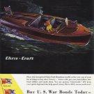 1944 CHRIS-CRAFT WWII Motorboat Vintage Print Ad