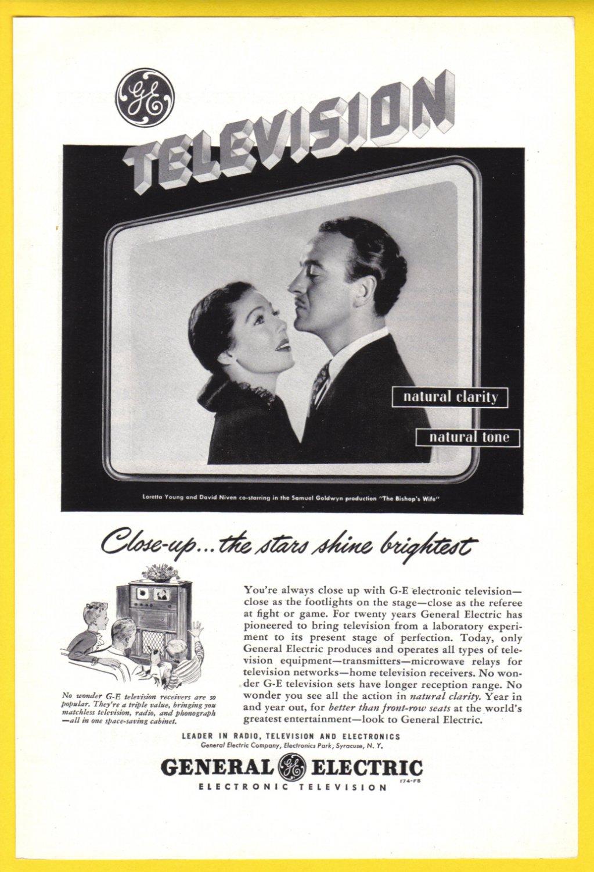 1948 G-E TV Loretta Young & David Niven Vintage Ad