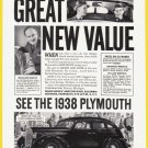 1938 PLYMOUTH Auto Vintage Print Advertisement