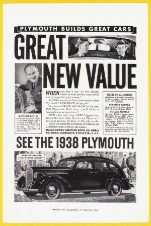 1938 PLYMOUTH Auto Vintage Print Advertisement