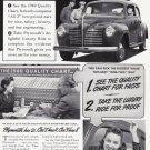 1940 PLYMOUTH Auto Vintage Print Advertisement