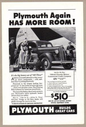1936 PLYMOUTH Auto Vintage Print Advertisement