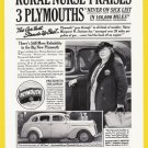 1930's PLYMOUTH Auto Vintage Print Advertisement
