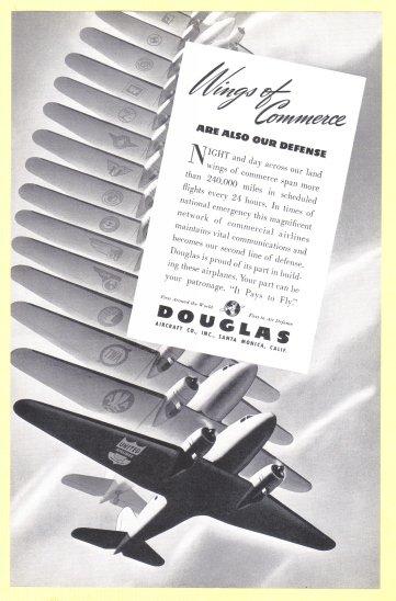 1940 DOUGLAS Aircraft Vintage Print Advertisement