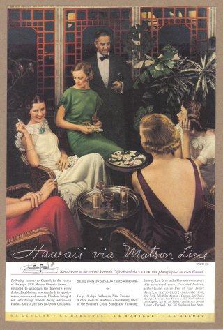 1935 MATSON Hawaii Cruise Vintage Advertisement