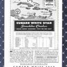 1936 CUNARD White Star Line Vintage Advertisement