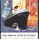 1958 FRENCH LINE CRUISE Vintage Advertisement