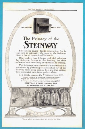 1905 STEINWAY Piano Vintage Print Advertisement