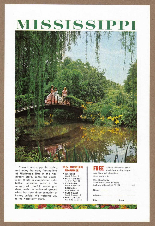 1964 Mississippi Travel Vintage Print Advertisement