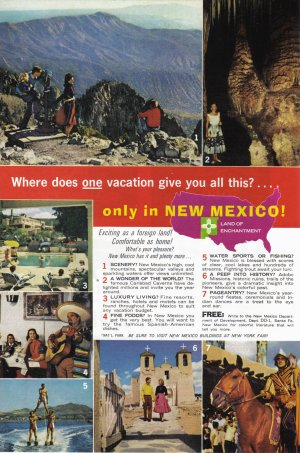 1964 New Mexico Travel Vintage Print Advertisement