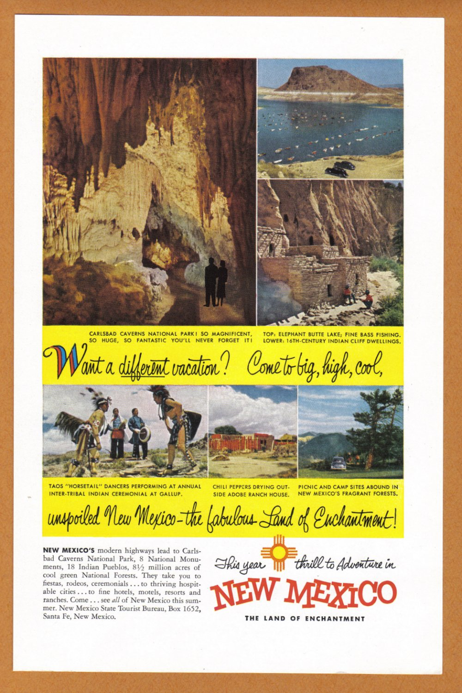 1953 New Mexico Travel Vintage Print Advertisement