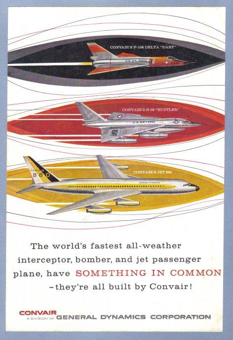 1960 CONVAIR Aircraft Vintage Print Advertisement