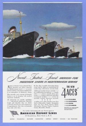 1948 AMERICAN Export Cruise Vintage Print Advertisement