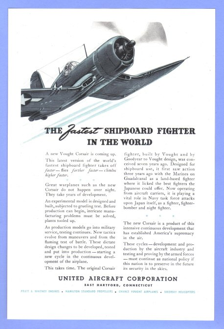 1945 United Aircraft WWII Era Vintage Print Advertisement